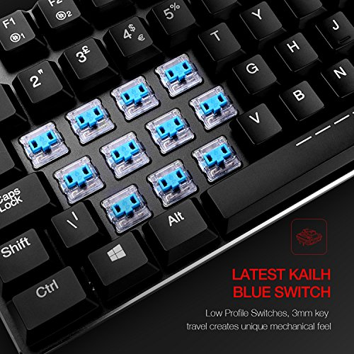 feb1c8e0a23 HAVIT UK Layout Mechanical Keyboard Backlit Wired Gaming Keyboard Extra-Thin  & Light, Kailh Latest Low Profile Blue Switches 105 Keys, Black (KB395L):  ...