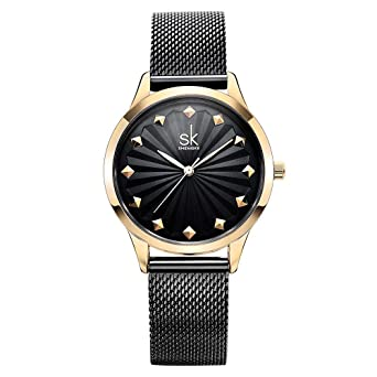 SHENGKE Women Watches Luxury Quartz Casual Ladies Watch Slim Mesh Steel Waterproof Wristwatch Reloj Mujer Fashion
