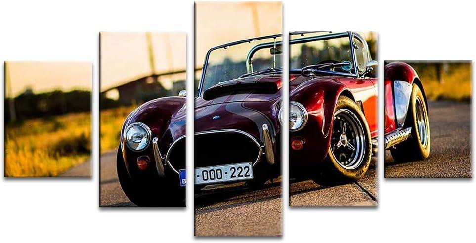 キャンバスプリントウォールアートBEST車シェルビー427コブラのポスターがハングにホームオフィスリビングルームのベッドルームのための額縁の準備と5パネルを車の写真をクール,16x24in*2+16x32in*2+16x40in*1