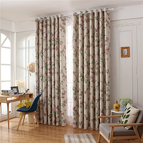 LIYAXUN Magpie Black Silk Shade Cloth Thermal Insulated Blackout Grommet Top Multi Sizes Energy-saving Environmental Protection Customed Curtains/Drapes 72