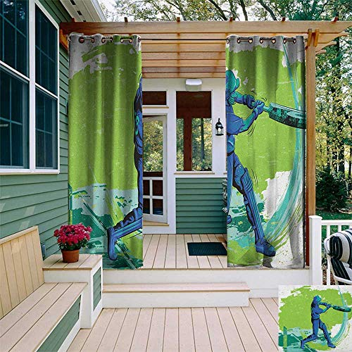 (leinuoyi Sports, Outdoor Curtain Ties, Cricket Player Pitching Win Game Champion Team Paintbrush Effect, Outdoor Curtain Panels for Patio Waterproof W108 x L96 Inch Navy Blue Turquoise Lime Green)