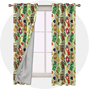 Aishare Store Set of 2 Panels 72 Long Inches Thermal Insulated Curtains, Kitchen,Foods Glass Jars on Table, Window Treatment Home Decor Curtains for Living Room