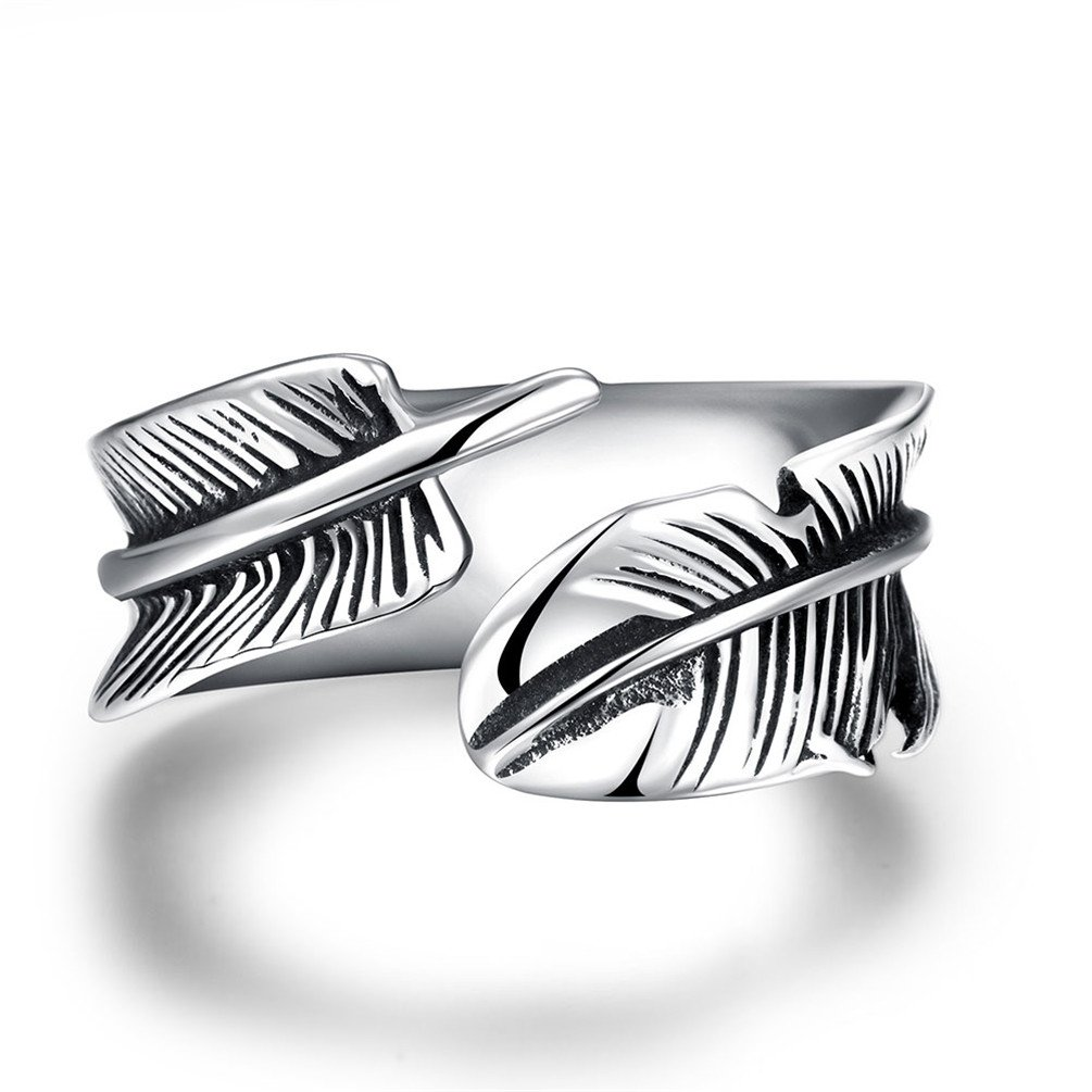 HMILYDYK 9mm 316L Stainless Steel Vintage Punk Rock Leaf Feather Adjustable Ring for Mens Womens