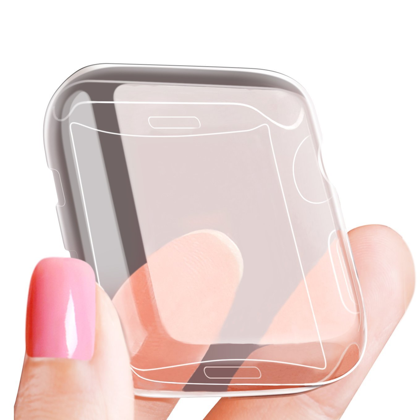 LELONG Compatible with Apple Watch Case 38mm 42mm 40mm 44mm, Soft TPU All-Around Clear Screen Protector Cover for iWatch Series 4,Series 3, Series 2