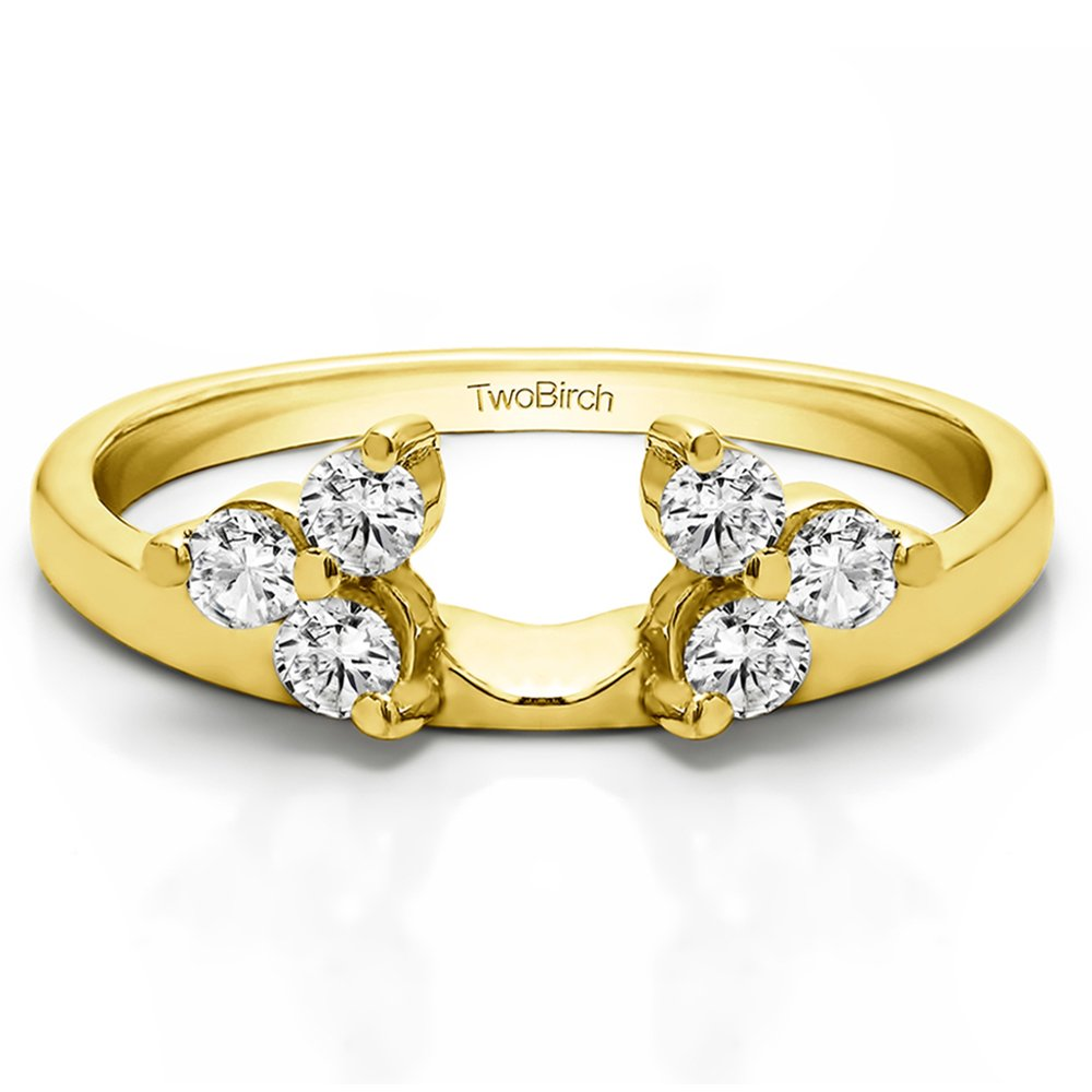 Diamond 3 Stone Ring Wrap Enhancer in 10K Yellow Gold G-H I2(0.12Ct)Size 3 To 15 in 1/4 Size Interval