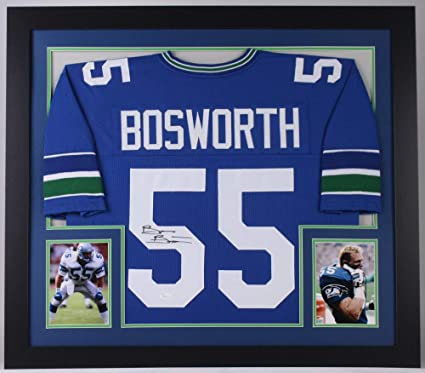 super cute 16ea4 5beb9 Brian Bosworth Signed Seattle Seahawks 31x35 Custom Framed ...