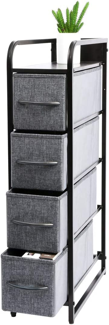 Kamiler Narrow Dresser Storage 4 Drawers, Tall Vertical Organizer Tower Unit for Bedroom/Closets/Laundry Room/Hallway/Entryway, Sturdy Steel Frame, Wooden Top, Removable Fabric Bins-Gray