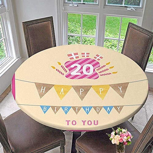 Mikihome Round Premium Tablecloth Decorations Girly Party Themed Cartoon Flags Cakes Boxes Image Light Pink and Purple Stain Resistant 63