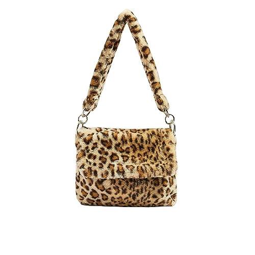 e99eff297a Amazon.com  YSMYWM Women Winter Faux Fur Shoulder Bag Leopard Print Handbags  Girls Tote Bag Crossbody Messenger Bag (Leopard)  Shoes