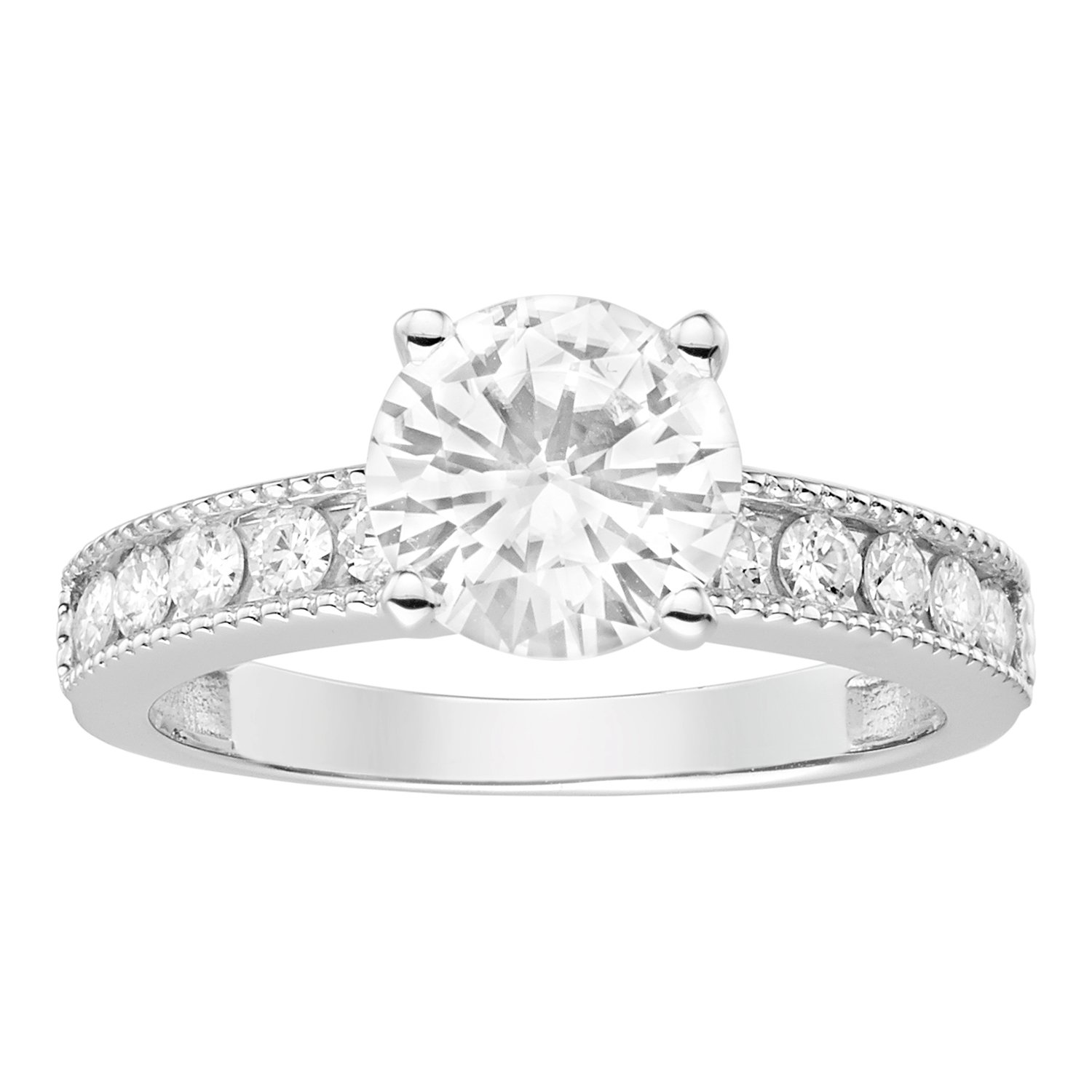 14K White Gold Round Brilliant Cut 7.5mm Moissanite Engagement Ring - size 6, 1.80cttw DEW By Charles & Colvard
