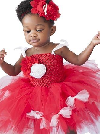 Princess Bowtique Baby Girls 2 Piece Tutu Dress and Headband 5 Months 2T Red//White