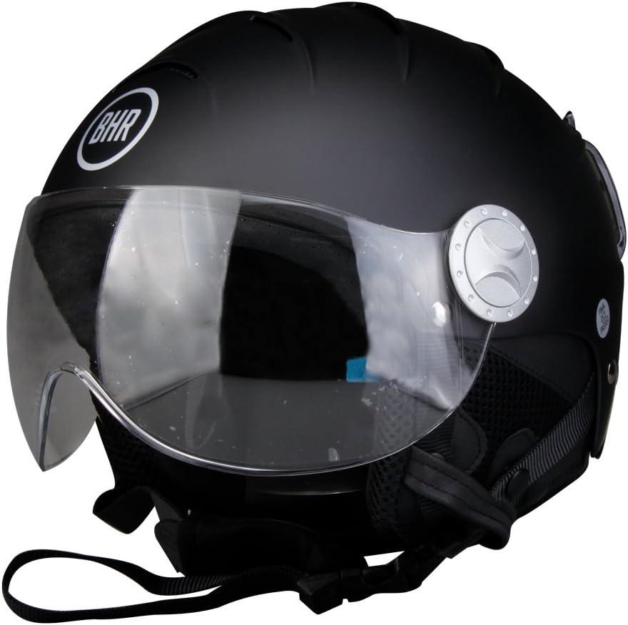 XL 59 cm BHR 94164 Demi-Jet Helmet Model 802 With Hidden Visor Orange