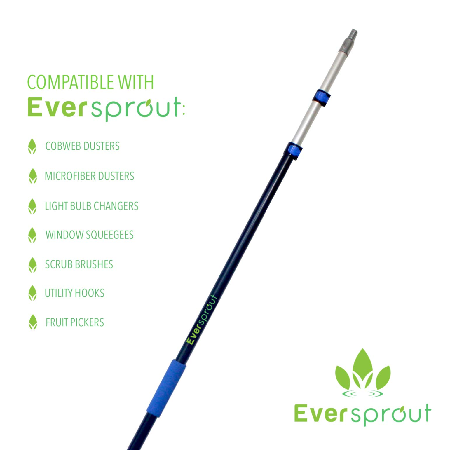 EVERSPROUT 5-to-12 Foot Scrub Brush (20 Foot Reach) | Built-in Rubber Bumper | Lightweight Extension Pole Handle | Soft Bristles to Wash Car, RV, Boat, Deck, Floor | Bumper Prevents Scratch by EVERSPROUT (Image #9)