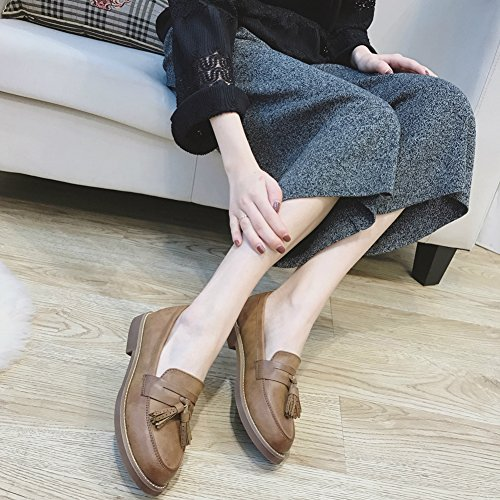 T-july Womens British Style Nappa Mocassini Penny Casual Abito Pompe Morbide Scarpe Basse Marroni
