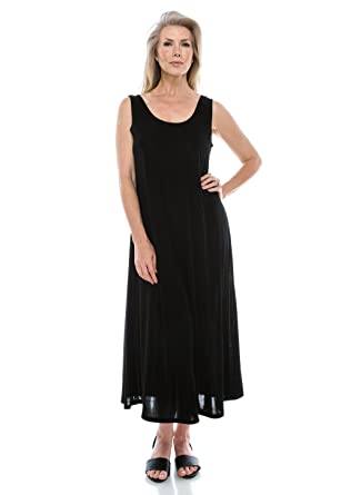 Jostar Womens Stretchy Tank Long Dress Sleeveless Plus Size Made