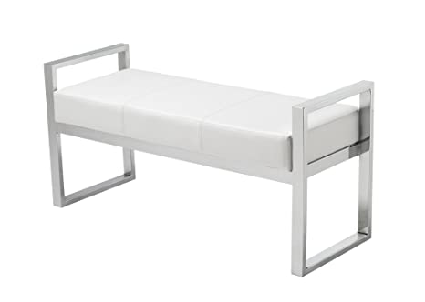 Amazing Amazon Com Sunpan Modern Darby Bench White Kitchen Dining Pabps2019 Chair Design Images Pabps2019Com