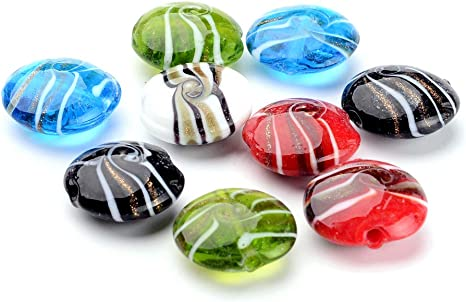 20pcs 8*10mm Oval  Millefiori Lampwork Glass Loose Spacer Beads Random Mixed
