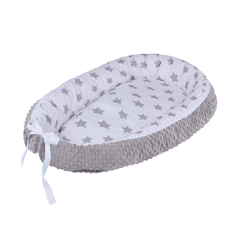 LULANDO Baby-Nest cocon MINKY pour bébé/nourrisson, cocon à usage multiple, coussin pour bébé, couffin de voyage portable, 100 % coton, anti-allergique, certificat Oeko-Tex, dimensions: 80 cm x 45 cm x 15 cm 883032