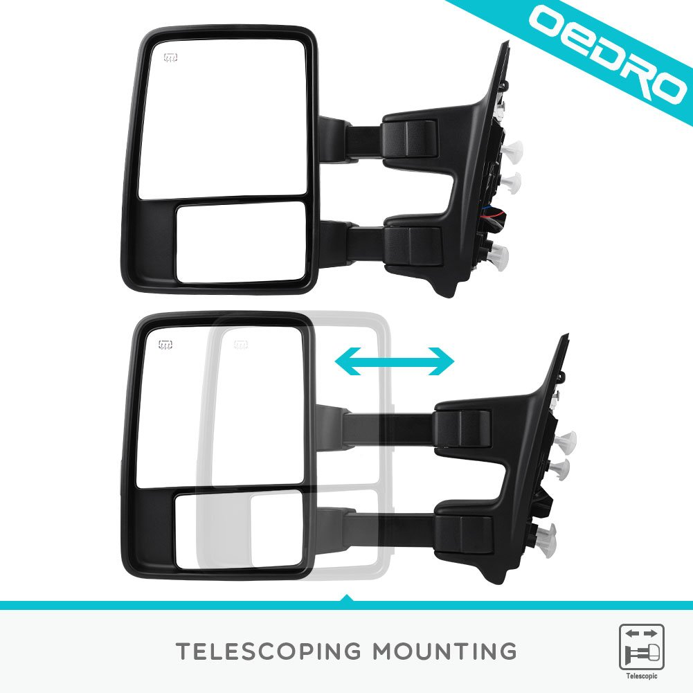 Towing Mirrors For2008 2015 Ford F250 F350 F450 Super 2009 Thru 550 Duty Wiring Diagram Manual Original Pair Set Telescoping Power Heated Puddle Light Signal Tow Automotive