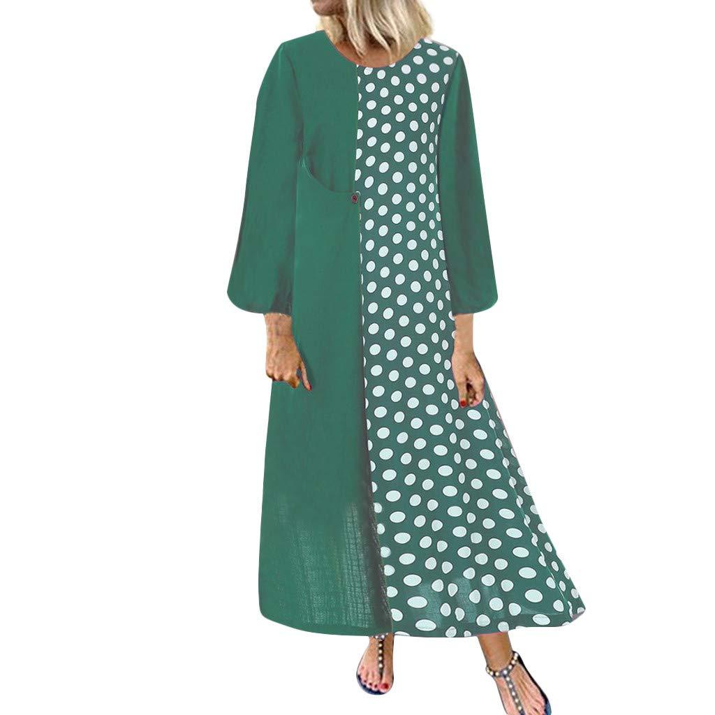 IEasⓄn Plus Size Dress Women Cotton Linen Bohemian Long Dress Dot Print Pocket Dress Green
