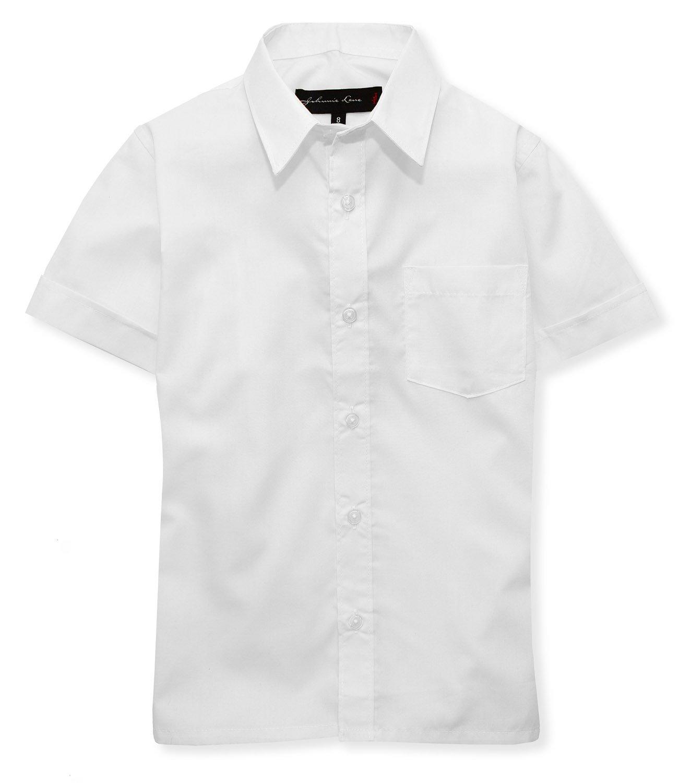 Johnnie Lene Boys Short Sleeves Solid Dress Shirt #JL44 (4T, White)