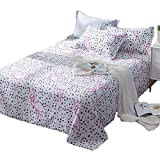 [100% Cotton] White Small Animal Printed Double Color Cute 1PC Twin Flat Sheet