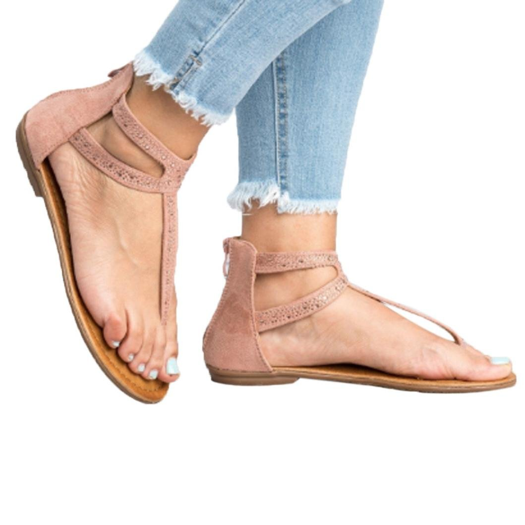 FORUU Women Diamond Zipper Gladiator Low Flat Flip Flops Beach Sandals Bohemia (39, Pink)