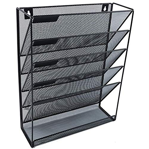 Agnes-Luxury 6 Tier Mesh Wall Hanging File & Document Letters Organizer Holder Magazine Rack for Home and Office Organization, Black (16' Mount Post Surface)