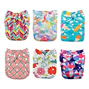 Babygoal Baby Cloth Diapers, Adjustable Reusable Pocket Nappy, Girl Color, 6pcs Diapers+6pcs Microfiber Inserts+4pcs Bamboo Inserts 6FG29