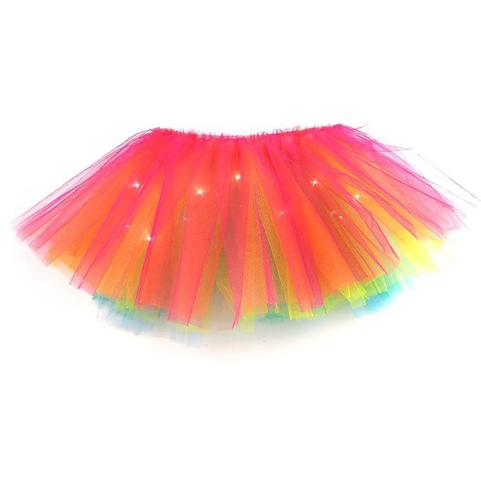 Falda tutú multicolor con luces LED para carnaval