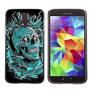 rígido protector delgado Shell Prima Delgada Casa Carcasa Funda Case Bandera Cover Armor para Samsung Galaxy S5 SM-G900 /Green Death Black Skull Dagger/ STRONG