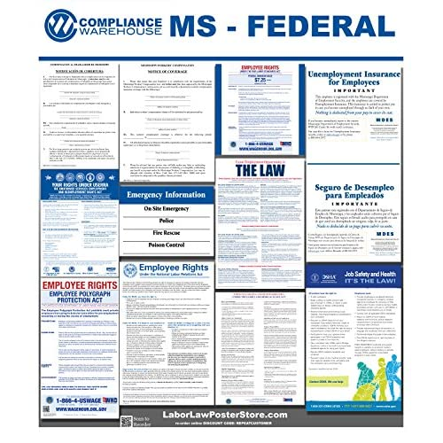 2018 Mississippi MS State Federal all in 1 LABOR LAW POSTER workplace compliance for cheap