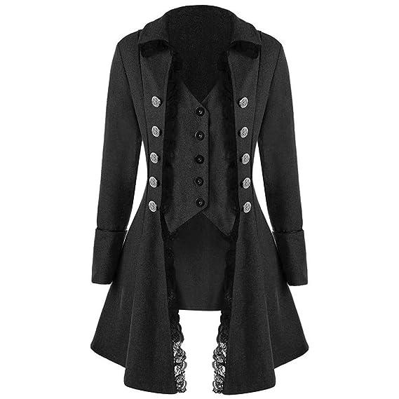 Damen Herbst Elegant Gothic Mäntel Kleider Trenchcoat Lang Parka mit Asymmetrisch  Saum Jacke Windbreaker Mode Cocktailjacke 6067819c08
