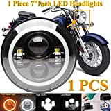7'' LED Round Light Halo Angel Eye Headlight For Yamaha V-Star XVS 650 950 1100 Custom Silverado High Low Beam DRL Super Bright, 2 Year Warranty
