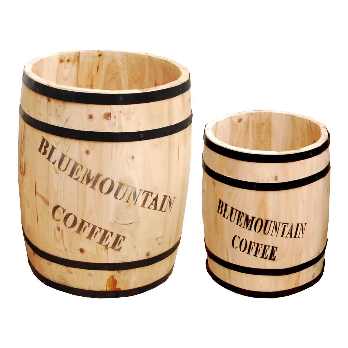 コーヒー樽プランター 大小2個組 / 植木鉢 プランター スタンド おしゃれ 木製 大型 深型 B07CGZGQSH