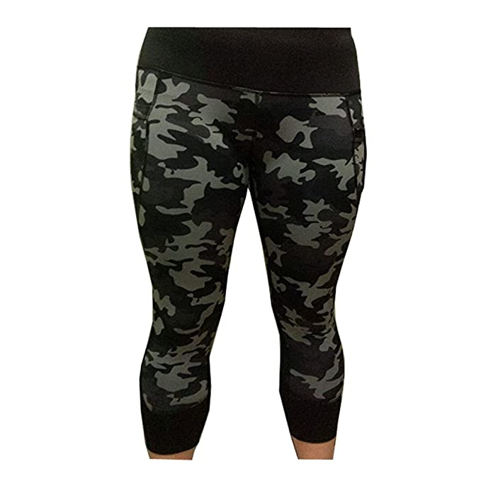 8d4904ce8429f Active Life Woman's Capri Leggings (Black/Grey Camo, L) at Amazon Women's  Clothing store: