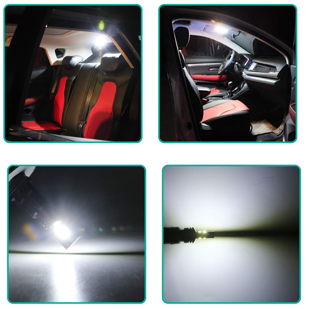 GLL 4pcs White T10 501 LED Bulbs 194 168 W5W 3030-4SMD Wedge T10 Bulbs for Car Dome Interior Dashboard Trunk License Plate Lights