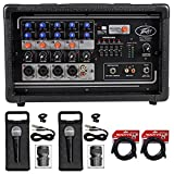 Package: Peavey PV5300 200 Watt 5-Channel Powered Live Sound Mixer + (2) Rockville RMC-XLR High-End Metal Handheld Wired Microphones + (2) RCXFM20E-B Black 20 Ft Female to Male XLR Microphone Cables