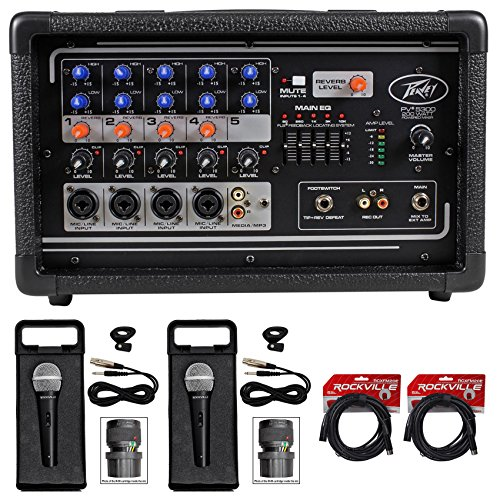 Package: Peavey PV5300 200 Watt 5-Channel Powered Live Sound Mixer + (2) Rockville RMC-XLR High-End Metal Handheld Wired Microphones + (2) RCXFM20E-B Black 20 Ft Female to Male XLR Microphone Cables by Peavey