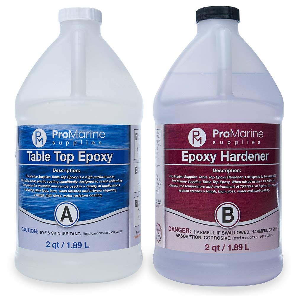 Pro Marine Supplies - Clear Table Top Epoxy Resin Coating for Table - 1 Gallon Kit