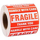 "MFLABEL 1 Roll Fragile Tapes - 2""x3"" Handle With Care Stickers - 500/ Roll Thank You Shipping Labels"