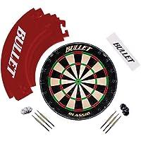 Bullet Großes Dart Turnier Set, Dartboard aus Brasilianischen Sisal, 6 Steeldarts, Surround Ring und Wurflinie