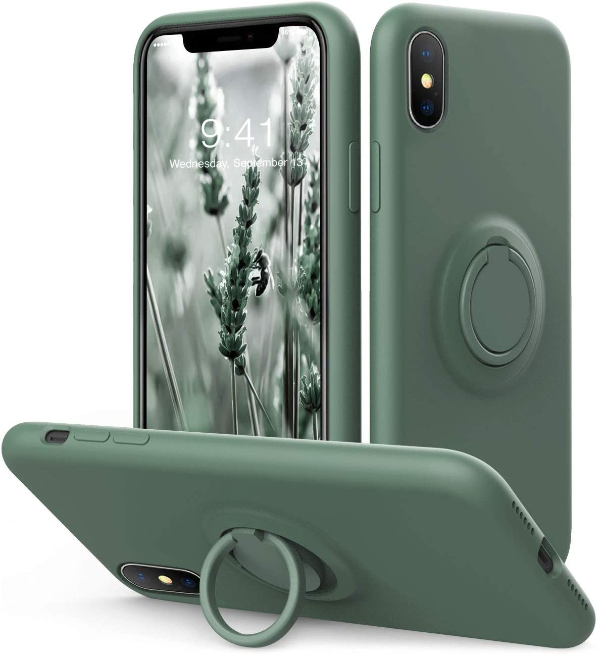 Vooii iPhone Xs/X Case Kickstand | Baby Grade Liquid Silicone | 10ft Drop Tested Protective, Microfiber Lining Shockproof Full-Body Cover Case for iPhone Xs/X (Pine Green)