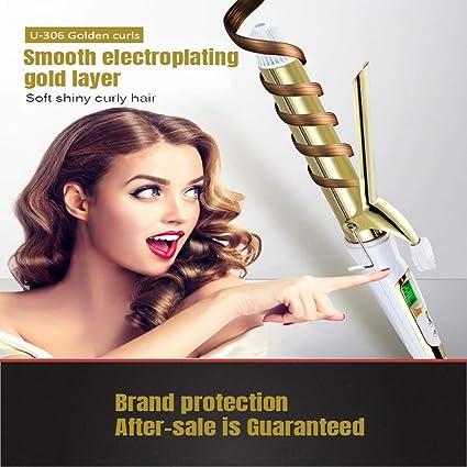 Rizadores de pelo, LCD digital display Gold recubiertos de cerámica de hierro rizado húmedo y