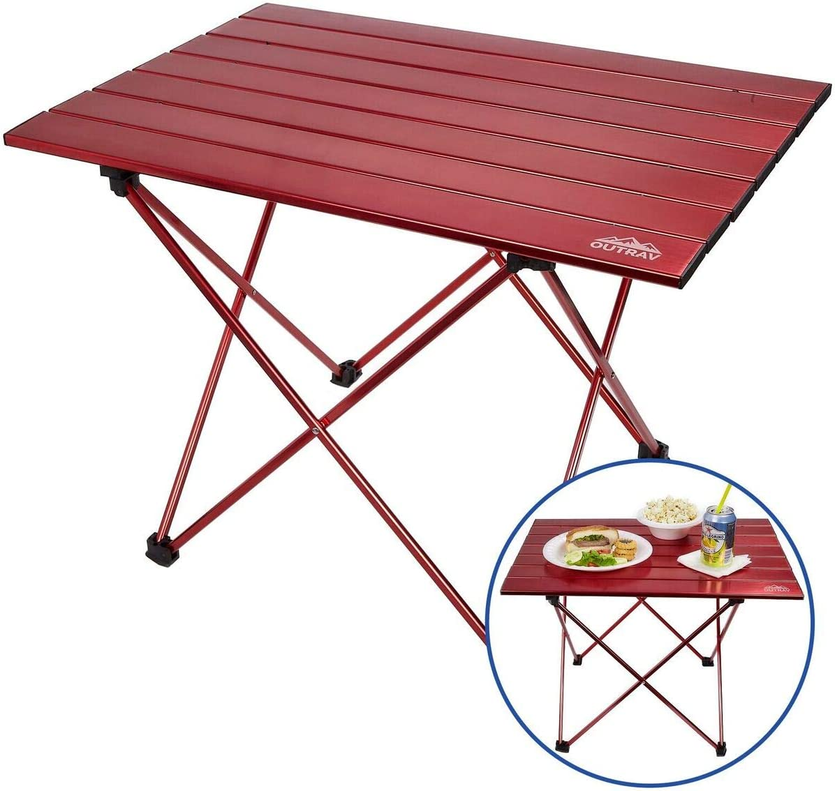 Portable Picnic and Camping Table Collapsible Accordion Aluminum Frame, Roll Up Aluminum Table Top – Drawstring Carrying Case Ultra Lightweight – by Outrav