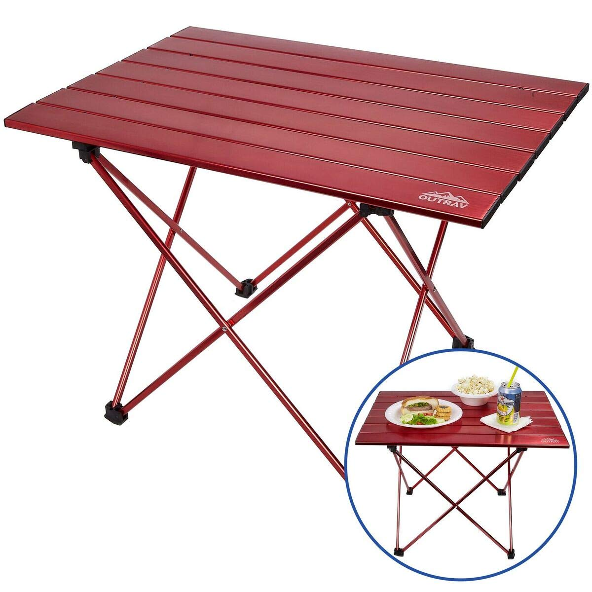 Portable Picnic and Camping Table - Collapsible Accordion Aluminum Frame, Roll Up Aluminum Table Top - Drawstring Carrying Case - Ultra Lightweight - by Outrav by Outrav