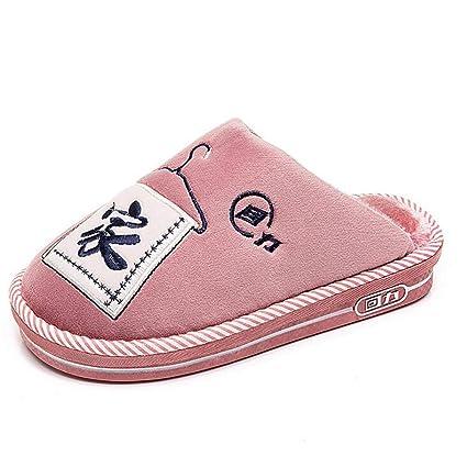 SHANGXIAN Suave Felpa Algodón Pantuflas Zapatos Antideslizante Piso Interior Casa Pantuflas Mujer Zapatos para Dormitorio,