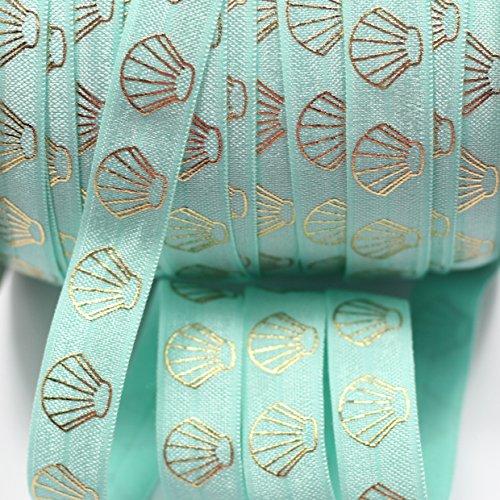 "Midi Ribbon Nautical Theme Gold Sea Shell Beach Clam Print Stretch Foldover Elastic 5/8"" X 10 Yards/Pack DIY Crafts Ponytail Holder Headband Hair Tie Gift Scrapbooking Deco Supplies-Aqua Color"