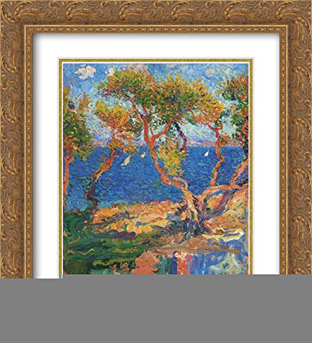 (Henri Martin 2X Matted 20x24 Gold Ornate Framed Art Print 'Olive Trees by The Sea')
