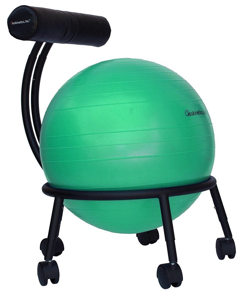 Isokinetics Inc. Brand Adjustable Fitness Ball Chair - Solid Black Metal Frame Finish - Exclusive: 60mm (2.5'') Wheels - Adjustable Base and Back Height - with Green 55cm Ball and a Pump